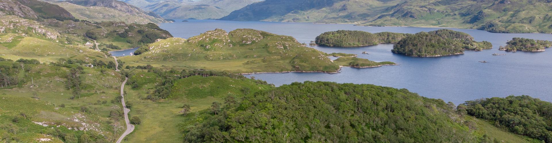 Loch Morar shot from air looking west
